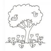 Desenho de árvore com pássaros para colorir