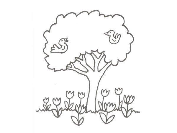 Dibujos Infantiles Árbol En Otoño Para Colorear: Desenho De árvore Com Pássaros Para Colorir