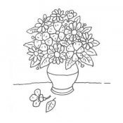 Desenho de um jarro de flores para colorir