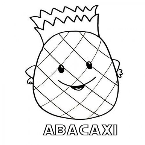 Desenho de abacaxi para pintar com as crianças