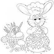 Desenho de coelho decorando bolo de Páscoa