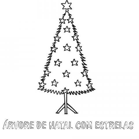 Desenho de árvore de Natal com estrelas para colorir