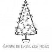 Desenho de árvore de Natal com luzes para pintar
