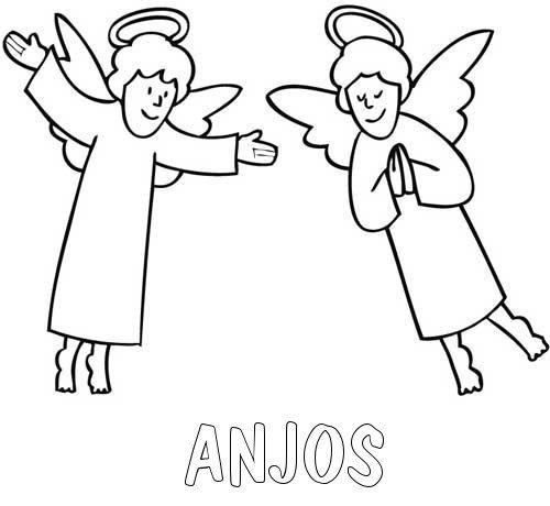 Desenho de anjos para colorir no Natal