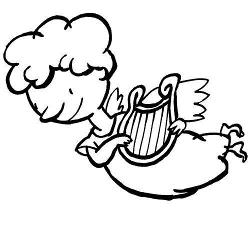 Desenho de anjo tocando harpa para colorir