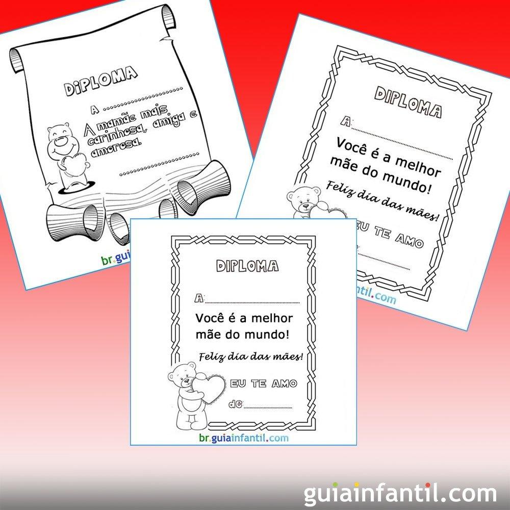 Diplomas para a mamãe para imprimir e colorir