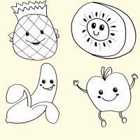 Desenhos de frutas para imprimir y colorir