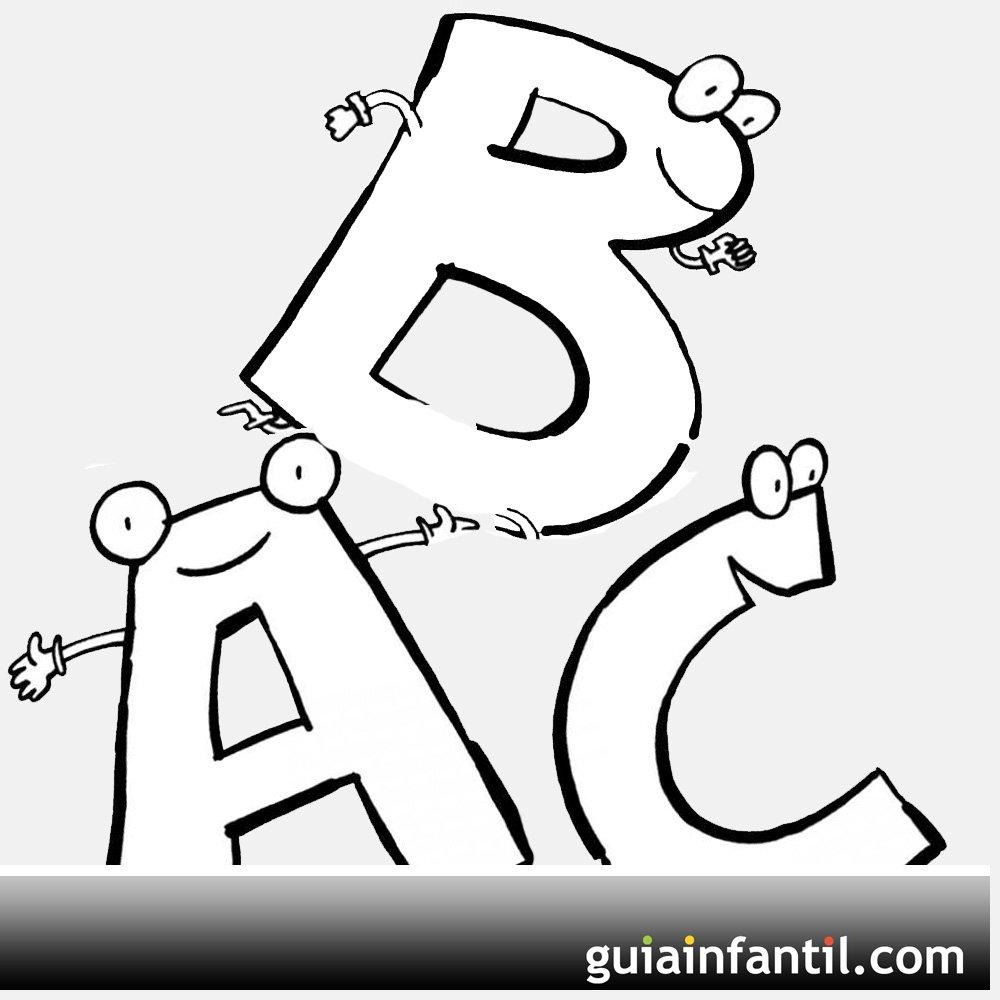 Desenhos de letras com carinhas para pintar