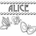 Desenho do nome Alice para pintar. Imagens de nomes