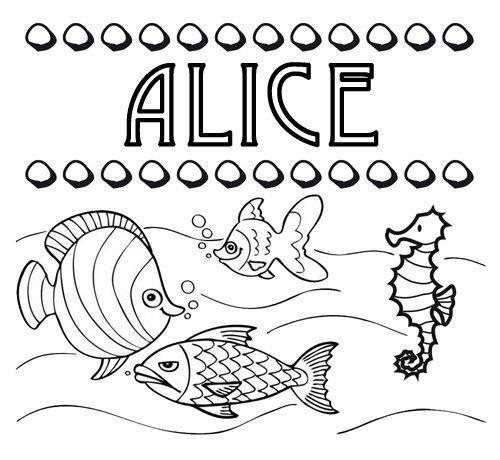 Desenho do nome Alice para colorir. Imagens de nomes