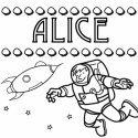 Nome Alice para colorir. Desenhos dos nomes para colorir com as crianças
